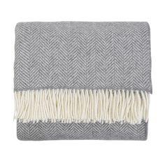 Merino & Cashmere Herringbone Throw Grey