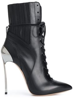 Casadei Techno Blade Lace-up Ankle Boots Black Lace Up Boots, Black Ankle Booties, Lace Up Ankle Boots, Black High Heels, High Heels Stilettos, Black Leather Boots, High Heel Boots, Heeled Boots, Bootie Boots