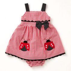 Infant Lady Bug Gingham Dress & Panty - Samara Dresses