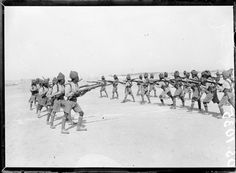 British Indian troops in training at Camp Ferry Post near the Suez Canal, May 1918.