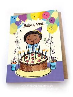 #Party Time #Birthday Card, #Multicultural Cards, Greeting Card, #Biracial greeting card, childrens birthday card, Birthday Boy, #forBoys, #Cake by nyhagraphics on Etsy #blackboys #forkids