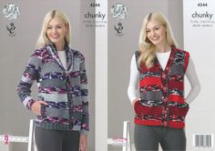 King Cole Double Knitting Pattern - Ladies Cardigan & Waistcoat (4244) - Mill Outlets