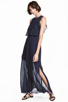 Sukienka z krepy - Ciemnoniebieski - ONA | H&M PL 1