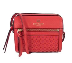 Kate Spade New York Perri Lane Bubbles Perforated Leather LooLoo Crossbody Bag, Empire Red Sale Price $150