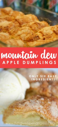 Ready for the best mock apple pie recipe? This Mountain Dew apple dumpling recipe uses a can of soda for a gooey, delicious apple dessert you'll love! Hot Apple Dumplings, Apple Dumpling Recipe, Peach Dumplings, Köstliche Desserts, Apple Desserts, Delicious Desserts, Baked Apple Dessert, Apple Recipes Easy, Amish Recipes