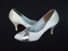 MAGGIE OR BIG MAMA OPTION? $83 Vintage 1950s shoes / 50s silver court shoes by StellaRoseVintage, £50.00