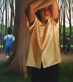 """""""Hide"""" - Bryan LeBoeuf, oil on linen {contemporary figurative artist children playing in forest cropped painting} bryanleboeuf.com"""