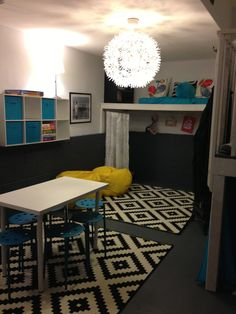 Garage turned playroom! If you don't have a yard you could designate half or all of your garage to this. Great use of space!