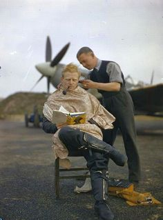 Royal Air Force Fighter Pilot Stopping for a haircut at Fairlop Airfield, Essex, November 1942