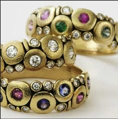 "Alex Sepkus ""Candy"" rings in a variety of colored gemstone choices"