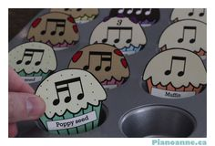 Rhythm Muffins - free printable activity and worksheets at pianoanne.ca...cute!