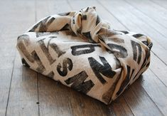 DIY Typography fabric gift wrapping