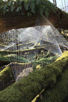 Cocoon [ Installation de fils de coton ] [ France ] [ Mars 2009 ] [ Installation : Sébastien Preschoux ]