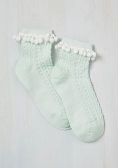 In the Pom of Your Stand Sock. If your posture could use a little flirty persuasion, these mint green socks will do just the trick! #mint #modcloth