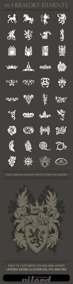 Creative heraldry vector shapes - Download here - http://www.inspirefirst.com/2012/04/03/creative-heraldry-vector-shapes/