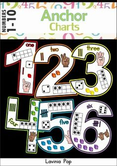 Numbers Anchor Charts (color and black and white). Visual for our class anchor charts Kindergarten Anchor Charts, Numbers Kindergarten, Numbers Preschool, Math Numbers, Kindergarten Classroom, Fun Math, Teaching Math, Math Activities, Preschool Activities