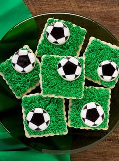 Soccer Cookies- Simple Cut Out Sugar Cookies Decorated with Royal Icing | The Bearfoot Baker  #bearfootbaker #edibleart #rolloutcookies #royalicing #funcookies #cookiesforboys #cookiesfordads #delicioustreats #yummycookies