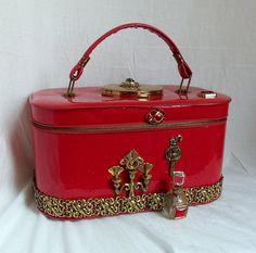 Retro Red Purse, Makeup case, couture carryall, Victorian keepsake case, OOAK handbag by La Marelle Couture