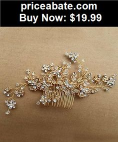 Bridal-Accessories: Vintage Gold Wedding Party Hair Comb Crystal Vine Bridal Accessories Handmade - BUY IT NOW ONLY $19.99