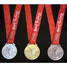 Beijing 2008 Olympic Medal Set (Gold/Silver/Bronze) Ribbons ($103) ❤ liked on Polyvore featuring home, home decor, gold home decor, gold home accessories, silver home accessories, silver home decor and bronze home decor