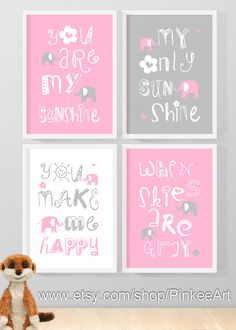 you are my sunshine new baby gift pink grey, my sunshine nursery print, baby nursery quotes, my only sunshine kids wall art, baby quotes set on Etsy, $29.00