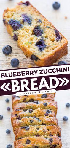 Blueberry Zucchini Bread Recipe (Easy & Moist!) - Averie Cooks Zucchini Side Dishes, Easy Zucchini Recipes, Quick Bread Recipes, Yummy Recipes, Healthy Recipes, Blueberry Zucchini Squares, Blueberry Bread, Baking Cookbooks, Dessert Recipes