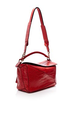 Small Puzzle Bag In Red Crocodile by Loewe