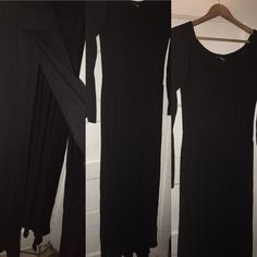 Long Black Dress split on both sides This beautiful black dress has 2 splits on the sides to give a little thigh and leg action can be worn off on on shoulder never worn 91% polyester 6% spandex Dresses Long Sleeve