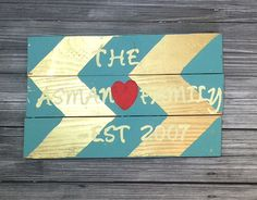 Family est 2007 Turquoise and gold chevron by RusticXpressions