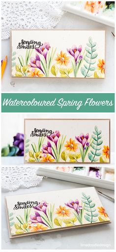 Video - no line watercoloured spring flowers card by Debby Hughes. For more about this card please visit: http://limedoodledesign.com/2017/03/video-spring-flowers-watercolour/