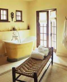 Oz Architects, master bath with antique painted metal tub Yellow Baths, Yellow Bathrooms, Mediterranean Bathroom, Mediterranean Style, Metal Tub, Painted Metal, Yellow Cottage, Relax, Rustic French