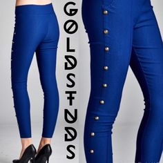 SIZE S Studded Navy Skinny Pants ONE PAIR LEFT! 😎 Cool and trendy navy pants + gold studs down the leg + elastic waist + like a thick legging + navy blue + runs small + unique piece!  Made of 60% cotton, 34% poly, 6% spandex. Color looks closer to navy than cobalt. April Spirit Pants Skinny