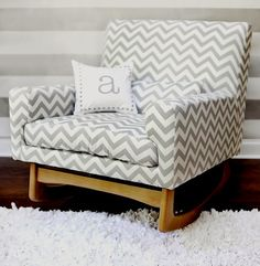 nursery rocker in a grey chevron Does it really have to be in a nursery? I'd love it in my living room! Nursery Rocker, Rocking Chair Nursery, Baby Rocker, Boy Nursey, Baby Bedding, Nursery Bedding, Upholstered Rocking Chairs, Layout, Houses