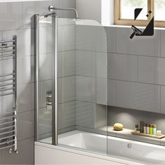 800mm EasyClean Straight Bath Screen & Towel Rail 6mm thick Glass - soak.com