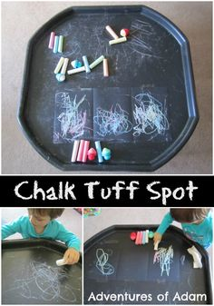 Adam loved mark making with chalk on the pavement and walls so I quickly changed our plans and we created a Chalk Tuff Spot. Whether it was our Tuff Spot or Eyfs Activities, Nursery Activities, Creative Activities, Creative Play, Infant Activities, Activities For Kids, Indoor Activities, Creative Area, English Activities
