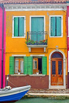 Yellow House - Burano, Italy Photograph by Beth Mostovoy, Honeybear Prints Colourful Buildings, Beautiful Buildings, Colorful Houses, Photo Recreation, Orange House, Yellow Houses, Street House, Exterior Colors, Architecture