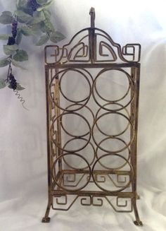 Wrought Iron Metal Wine Rack Gray 83 Tall Holds 32 Bottles