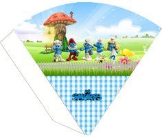 "kit birthday ""The Smurfs"" to boy-cone treats smurfs invitation smurfs basket, etc .... - Invitations Digital Simple"