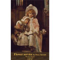 Needlepoint Cross Stitch Kit - Flower Service by Percy Tarrant Vintage Images, Vintage Art, Flower Service, Victorian Art, Cross Stitch Kits, Figure Painting, Vintage Children, Art Children, Retro