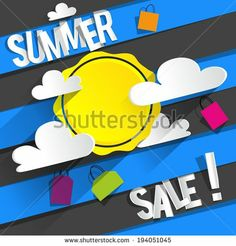 Summer Sale Background With Clouds And Sun vector illustration by boivin nicolas, via Shutterstock