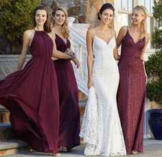 Mix and match gowns in Bordeaux