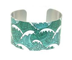 Ocean wave cuff bracelet https://www.etsy.com/listing/164898185/cuff-bracelet-ocean-jewellery-with-waves