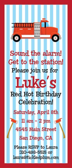 Fire Truck Red Hot Birthday Celebration Invitation and Party Pack. $2.25, via Etsy.