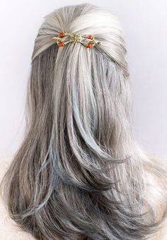 Lovely long gray hair in a half up hairstyle! Beautifully secured with a Lilla Rose Flexi clip! Super comfortable and works in all types of hair from baby fine hair to super thick hair! Grey Hair Styles For Women, Medium Hair Styles, Short Hair Styles, Gray Hair Women, Long Gray Hair, Silver Grey Hair, Gray Hair Growing Out, Grow Hair, Long Hair Older Women