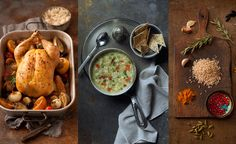 A trio of images styled by prop stylist Paula Walters: roasted chicken and exotic spices  photographed by Annemarie Zelasko with foodstyling by Kim Hartman.  The chicken rice soup is the photography work of Iain Bagwell, and the food styling is from Will Smith.