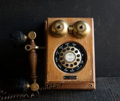 Vintage Wooden Old Fashioned Telephone The by TheVintageParlor, $34.00