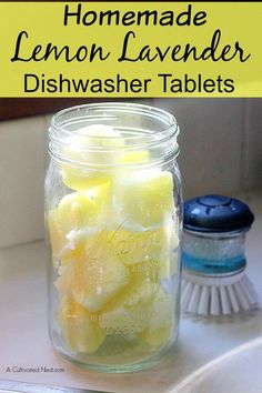 Homemade Lemon Lavender Dishwasher Tablets - no more expensive store bought tablets! DIY cleaning recipes | cleaning tips #diycleaningrecipes #cleaningtips