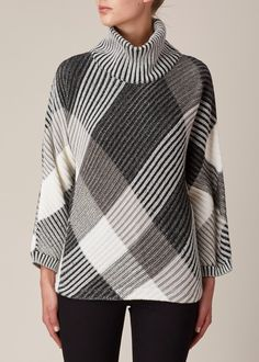 Issey Miyake  Slant Knit Sweater. Knitting challenge: Reproduce this as a handknit.