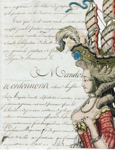 copy of an antique French letter with an 18th century French fashion plate photos photoshopped on top.
