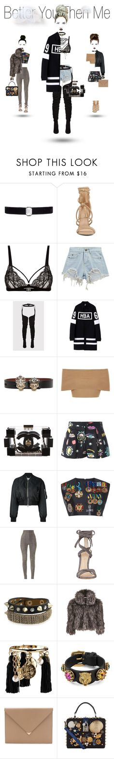 """""""Better You Then Me"""" by foreverfreshie ❤ liked on Polyvore featuring Kenneth Jay Lane, ALDO, Coco de Mer, Chicnova Fashion, Hood by Air, Alexander McQueen, Blue Vanilla, Chanel, Boutique Moschino and Givenchy"""